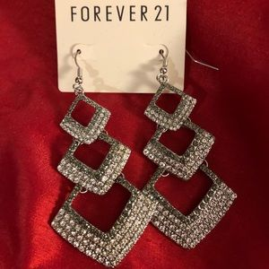 Silver Sparkly Dangly Earrings